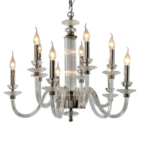 P9477-5+5 Nickel/Iron+clear glass+clear crystal Люстра (MODERN LAMP)
