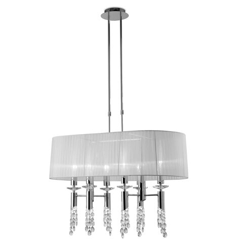 3853-6+6L/TIFFANY/CHROME+WH SHADE-люстра (MANTRA)