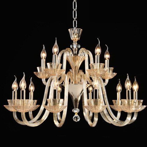 P9310-10+5 Gold/Iron+ Champagne gold glass +clear crystal Люстра (MODERN LAMP)