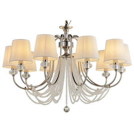 P2396-10 Iron+ cleare crystal+ fabric shade Люстра (MODERN LAMP)