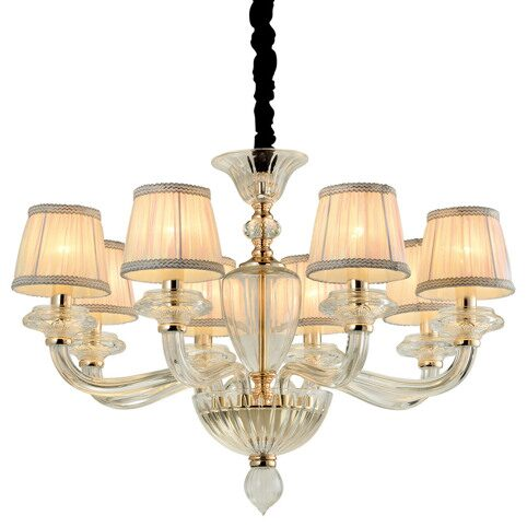 P2319-8 Gold/Iron+ Colorful fabric shade+ Clear glass Люстра (MODERN LAMP)