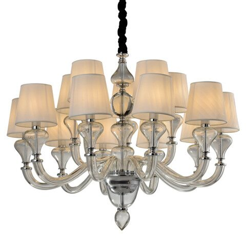 P2355-10+5 Chrome/Iron+ fabric shade+crystal+ glass Люстра (MODERN LAMP)