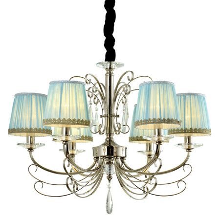 P9390-6 Nickel/Iron+ Blue fabric shade Люстра (MODERN LAMP)