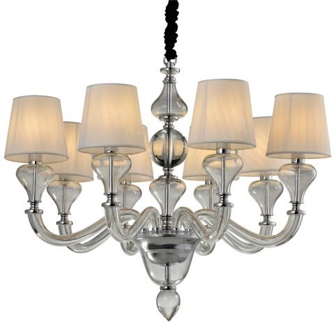 P2355-8 Chrome/Iron+ fabric shade+crystal+ glass Люстра (MODERN LAMP)