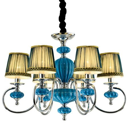 P2321-6B Chrome/Iron+Dark Blue fabric shade+ Ceramic Люстра (MODERN LAMP)