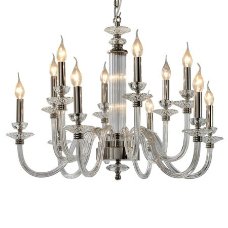 P9477-6+6 Nickel/Iron+clear glass+clear crystal Люстра (MODERN LAMP)