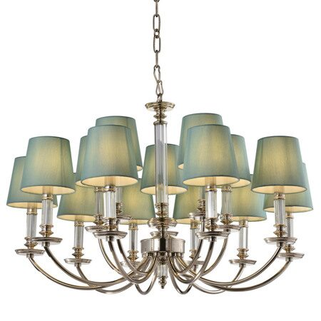 P2366-10+5 Nickel/Iron+Green fabric shade+ clear glass rod Люстра (MODERN LAMP)