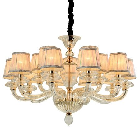 P2319-10+5 Gold/Iron+ Colorful fabric shade+ Clear glass Люстра (MODERN LAMP)