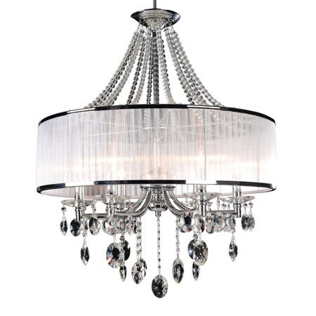 P7338-6 Iron+ cleare glass/crystal+ fabric shade Люстра (MODERN LAMP)