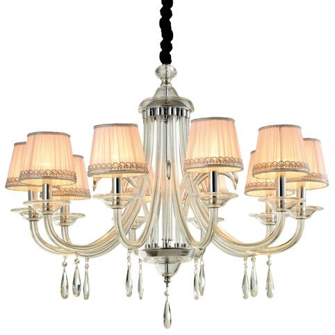 P9385-10 Chrome/Iron+ Pink fabric shade+ Clar glass Люстра (MODERN LAMP)
