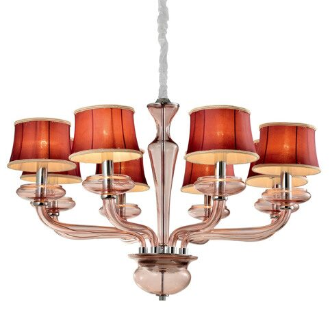 P9384-8 Chrome/Iron+ Red fabric shade+ Light purple glass Люстра (MODERN LAMP)