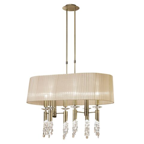 3873-6+6L/TIFFANY/ANTIQUE BRASS+SOFT BRONZE SHADE-люстра (MANTRA)