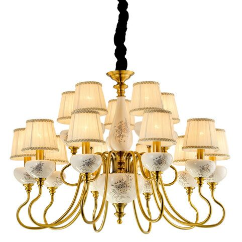P2322-10+5A Gold Brass/Iron+Beige fabric shade+ Ceramic Люстра (MODERN LAMP)