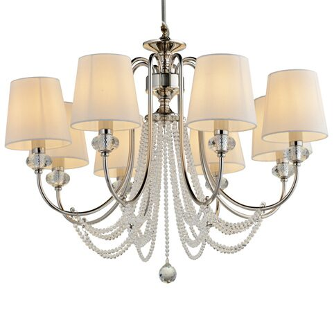 P2396-8 Iron+ cleare crystal+ fabric shade Люстра (MODERN LAMP)