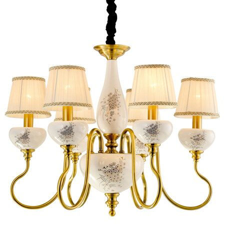 P2322-6A Gold Brass/Iron+Beige fabric shade+ Ceramic Люстра (MODERN LAMP)