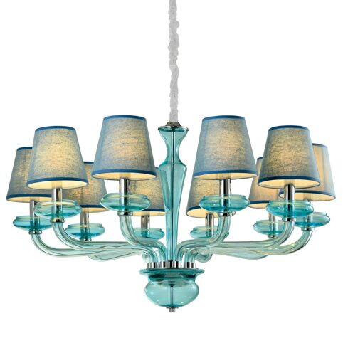 P9384-10 Chrome/Iron+ Blue fabric shade+ Blue glass Люстра (MODERN LAMP)