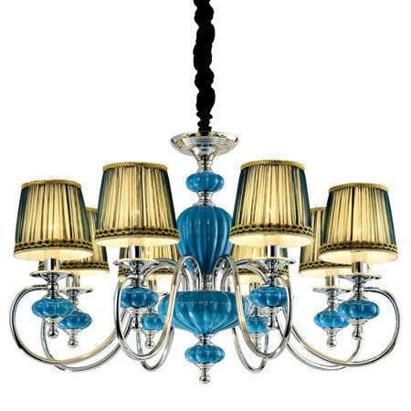 P2321-8B Chrome/Iron+Dark Blue fabric shade+ Ceramic Люстра (MODERN LAMP)