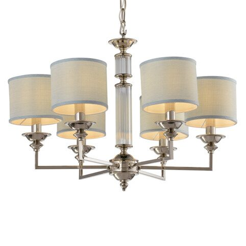 P2362-6 Nickel/Iron+light blue fabric shade+ clear glass rod Люстра (MODERN LAMP)