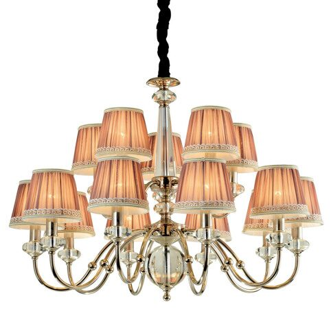 P2324-10+5 Nickel/Iron+Light Pink fabric shade+ clear crystal Люстра (MODERN LAMP)