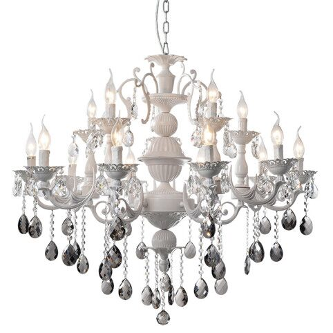 P2304-10+5 Mat White/Iron+Zinc alloy+ clear crystal Люстра (MODERN LAMP)