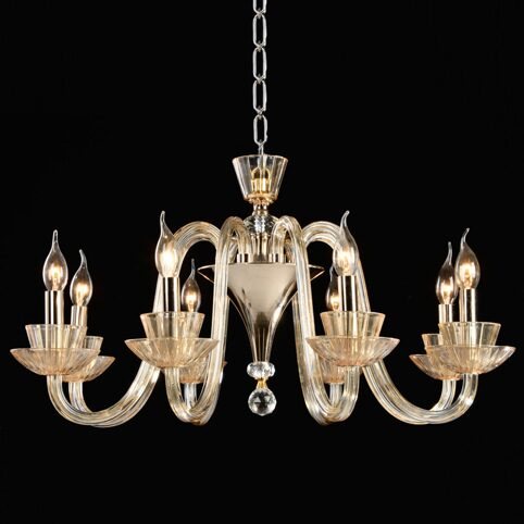 P9310-8 Gold/Iron+ Champagne gold glass +clear crystal Люстра (MODERN LAMP)